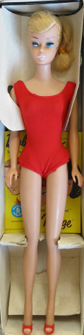 Platinum Swirl Ponytail Barbie in her Original box with liner, stand booklet, shoes and swimsuit